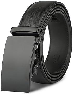 Cinturón Hombre Cuero - M.R Cinturones Piel Automática Con Hebilla Trinquete Plateada