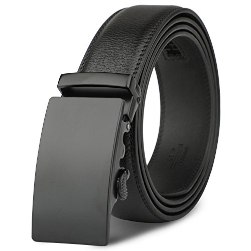 Men's Leather Belt - MR Automatic Leather Belts With Silver Ratchet Buckle
