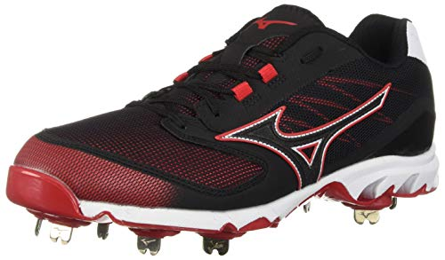 Mizuno Men\'s 9-Spike Dominant IC Low Metal Baseball Cleat Shoe, Black/red, 8 D US