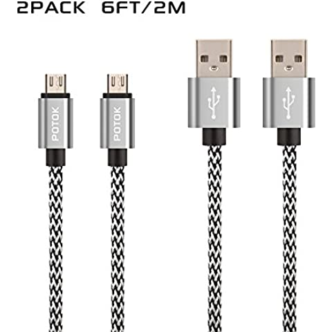 Potok 2Pack 6Ft/2M Long Nylon Braided Lightning to USB Sync Charge Cable Cord Charger with Aluminum Connector for Samsung Galaxy Series, Note 4 5, A7 A9, Tab A S2, ZTE, Huawei, Motorola Android phone(Silver)