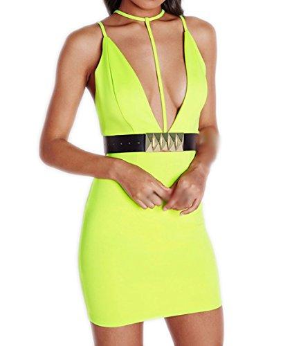 Valin D22147 Deman Mode Figurbetontes Kleid Gelb