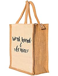 Nisol Work Hard & Be Nice Classic Printed Lunch Bag | Tote | Hand Bag | Travel Bag | Gift Bag | Jute Bag