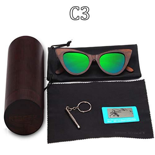 DAIYSNAFDN Holz Sonnenbrille Frauen Bambus Rahmen Brillen Polarisierte Gläser Brille Vintage Design Shades C3