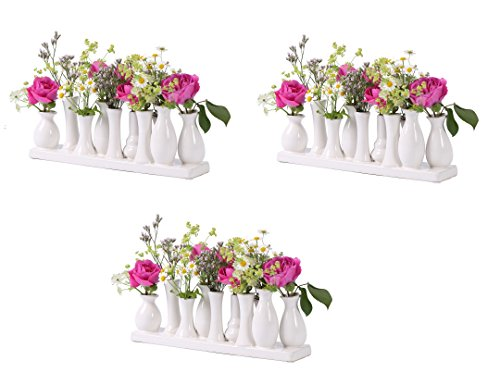 Keramikvasenset Blumenvase Keramikvasen bunt/weiß Vase Blumen Pflanzen Keramik Set Deko Dekoration (3 Sets je 10 Vasen, weiß)