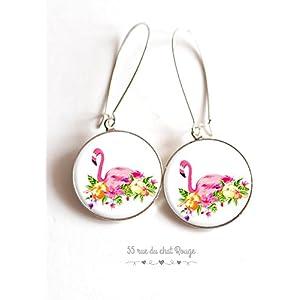 Ohrringe cabochon rosa Flamingo Wendekreis das epoxy Harz, die leicht sind