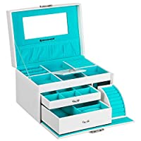 SONGMICS Jewellery Box, Jewellery Case with Drawers, Jewellery Organiser with Mirror and Lock, for Rings, Bracelets, Earrings, Necklaces, Synthetic Leather and Velvet, Gift, White JBC211W
