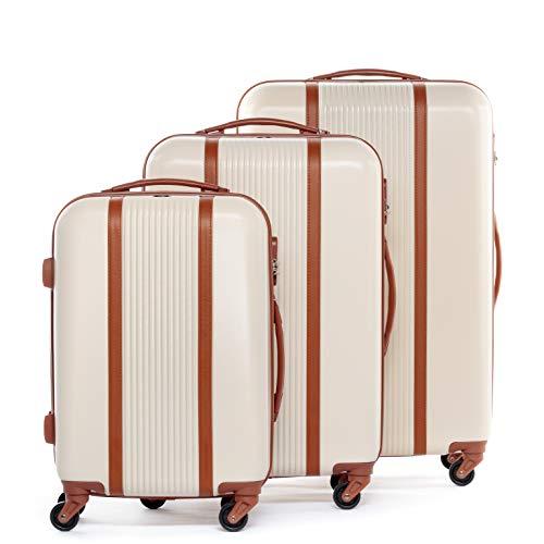 FERGÉ Kofferset Hartschale 3-teilig Milano Trolley-Set - Handgepäck 55 cm L XL - 3er Hartschalenkoffer Roll-Koffer 4 Rollen 100% ABS beige