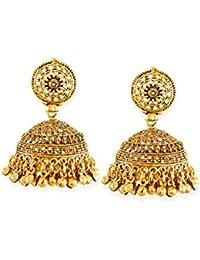 Zaveri Pearls Jhumki Earrings for Women (Golden) (ZPFK6631)