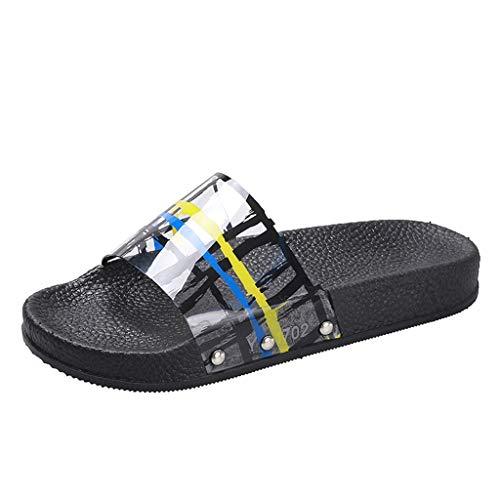 Mitlfuny Damen Sommer Sandalen Bohemian Flach Sandaletten Sommer Strand Schuhe,Frauen-Sommer-Ausgangshefterzufuhren Arbeiten Flache Strand-Schuhe um, die Pantoffel-Innenschuh Baden