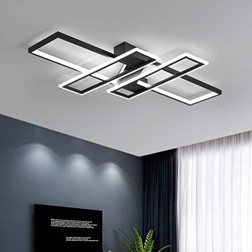 LED Plafonnier Dimmable Avec Télécommande Moderne Rectangle Désign Lampe de Plafond Acrylique Pour Salle de Séjour Chambre à Coucher Cuisine Salle à Manger Bureau Escalier Applique Lustre Noir Blanc