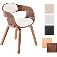 CLP Moderna sedia KINGSTON con braccioli, seduta bene imbottita, struttura in legno, colori a scelta Colore legno noce, colore fodera bianco