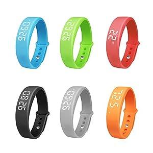 Sijueam Silicone Black Smart Watch Bracelet Wristband Sleep Calorie Heath Sports Fitness Tracker Pedometer Temperature Alarm Clock Steps Counter NEW