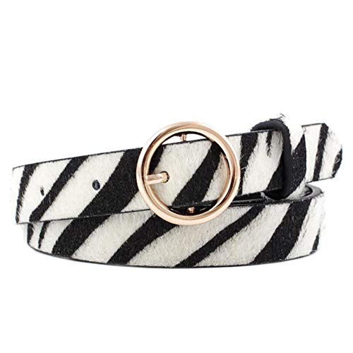 hinffinity Ledergürtel mit Leopardenmuster, Jeans, Hose, Kleid, modische Schnalle, dekorativer Gürtel mit Vintage-O-Schnalle, für Frauen und Mädchen, Multi, Zebra Pattern -