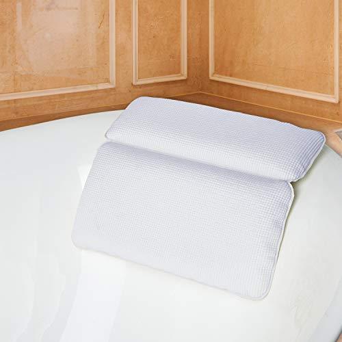 Cuscino di Bagno, Kapmore Vasca da Bagno Cuscino con Forti Ventose Grandi di Aspirazione Vasca Cuscino per il Collo Impermeabile Bath Pillow(white)