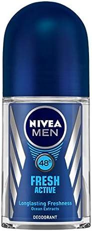 NIVEA Men Deodorant Roll On, Fresh Active, 48h Long lasting Freshness, 50 ml