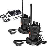 BAOFENG Walkie talkie Ricetrasmettitore, Ricaricabile Ricevitore Radio Bidirezionali Handheld Walkie Talkie BF-888s UHF 400-470 MHz 16 canali con Portatile Dual Auricolari (2pz)