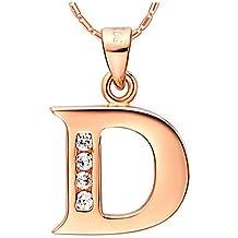 Joyería de moda de 925 Sterling NYKKOLA plateado plata Letra inicial D cristal collar del encanto del alfabeto 18in