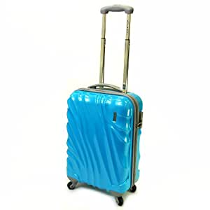 Karabar Cabin Approved Hard Suitcase 55 x 38 x 20 cm all parts included - 3 Years Warranty! (French Sky Blue)