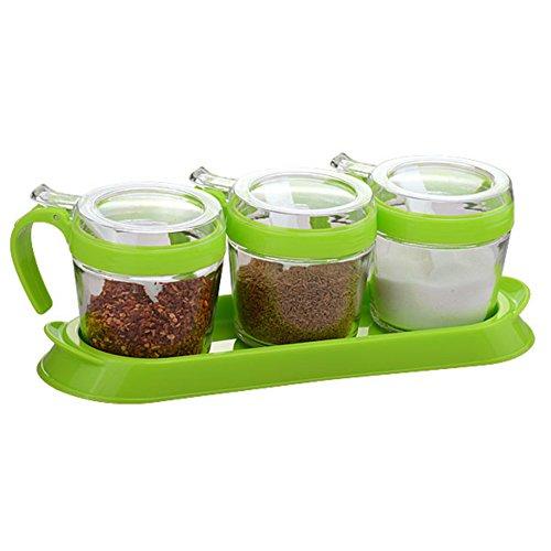 Küche liefert Glas Menage Feuchtigkeit Gewürzdosen Spice Vierstück Bausatz-D