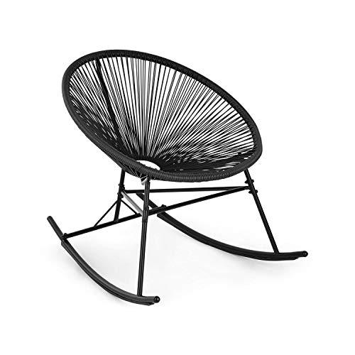 blumfeldt Roqueta Chair Schaukelstuhl • Retro-Design • Bespannung aus 4mm-Geflecht • Material Gestell: pulverbeschichteter Stahl • witterungsbeständig • schwarz