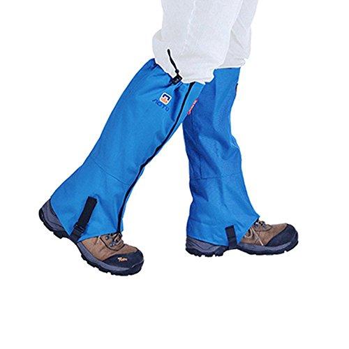 TOPSHION 1 Paar Wasserdichte Kletterschuhe Wandern Camping Schuh Beinschutz Skischuhe Überzug Lange Leggings, blau, 50 * 44.5CM