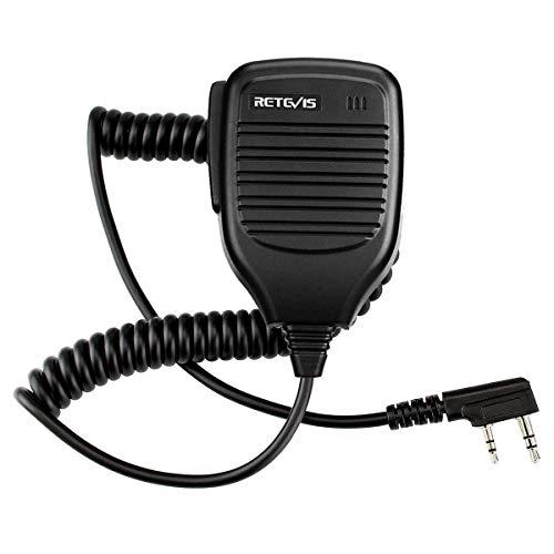 Retevis Funkgerät Lautsprecher Mikrofon 2 Pin Handheld Mikrophon Kompatibel mit Walkie Talkie RT24 RT27 RT21 RT22 RT5R H777 Baofeng BF-888S BF-88E UV-5R Radioddity R2 Kenwood TYT (1 STK.) (Mechanische Mod Einfache)