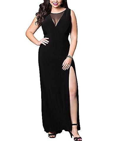 Femme Grande Taille Robe de Soiree Robe de Ceremonie Maxi Elegante Col V Noir 3XL
