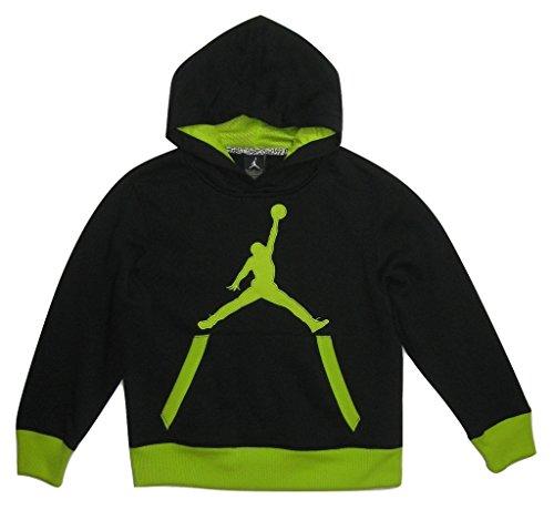 Nike Jungen Pullover Jordan Big Jumpman Logo Fleece Hoodie, Black/Green, Jungen, schwarz/grün, Medium