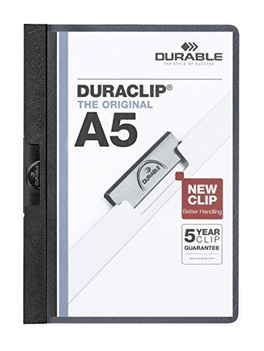 DURABLE Hunke & Jochheim Klemm-Mappe DURACLIP® A5, Hartfolie, 30 Blatt, transparent/schwarz