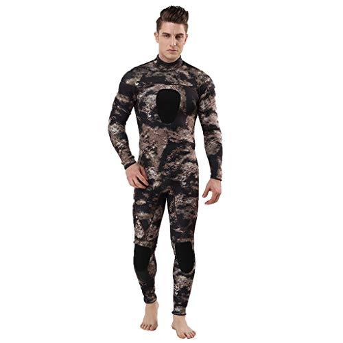 LOPILY Herren Mode Neoprenanzug Surfbekleidung 3MM Ganzkörperanzug Schwimmanzug Tauchanzug Schwimmen Surfen Tauchen Sport Badeanzug Wetsuit Schnelltrocknend(Khaki,M)