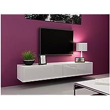 Amazonfr Meuble Tv Design Laque Blanc