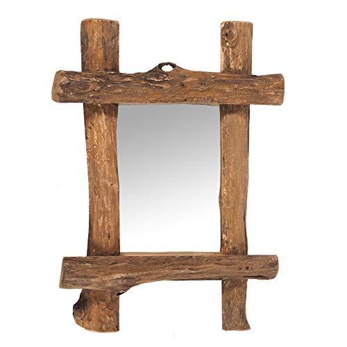 DESIGN DELIGHTS WANDSPIEGEL Vintage Teak | Teakholz, 45x60x5 cm (BxHxT), Natur | Spiegel mit Treibholz Rahmen