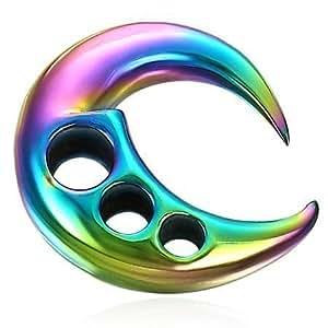 Urban body jewellery- demi-lune design moderne en acier inoxydable anodisé-écarteur pour lobe d'oreille; bijou pour le corps pour homme ou femme.