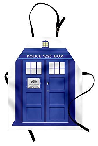 ABAKUHAUS Polizei Kochschürze, Ärzte blaues Haus britische Wahrzeichen Telefon Box Polizei Aufruf Bild Artwork Print, Farbfest Höhenverstellbar Waschbar Klarer Digitaldruck, Weiß und ()