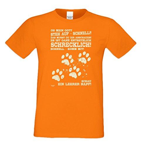Leerer Napf :: Lustiges Sprüche Fun T-Shirt mit Tiermotiv für Herren :: Geschenkidee für Ihn Geschenk für Katzenliebhaber Hundeliebhaber Pfotenabdrücke Farbe: orange Orange