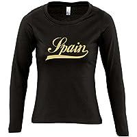 Spanien Oldschool Spain LÄNDERSHIRT EM / WM FAN Trikot - Damen Langarm Longsleeve T-Shirt S-XL