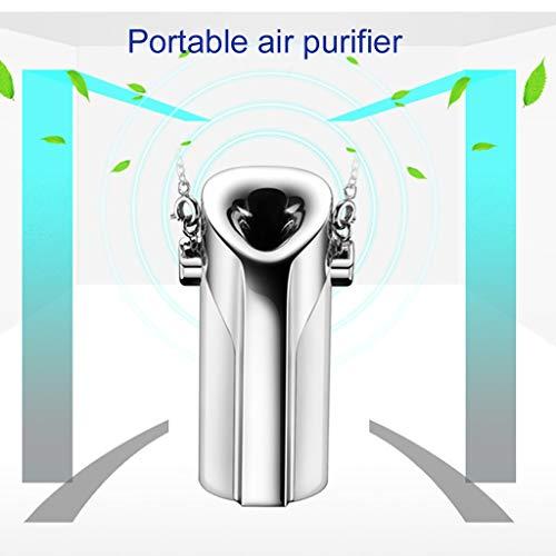 TianranRT★ Luftreiniger Und Luftentfeuchter - Tragbarer Vernebler-Halsion Tragbarer Rauchformaldehyd-Luftformreiniger - Silber (58X25Mm)