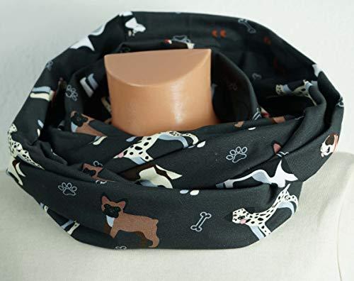 Baumwoll Loop Schal: Hunde, Pfoten, Dalmatiner, Husky, Bulldogge, Dackel