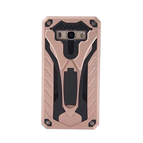 EKINHUI Case Cover Neue Hybrid-Rüstungsschutz-Rückseiten-Abdeckung Shockproof Doppelschicht PC + TPU rückseitige Abdeckung mit Kickstand für Samsung-Galaxie J5 2016 ( Color : Silver ) Rosegold