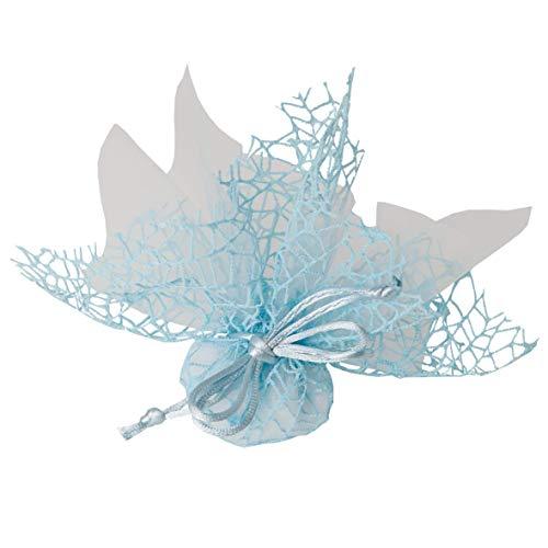 20pz velo organza quadro celeste con rete spider e tirante nascita comunione cresima matrimonio