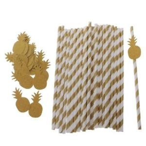 ELECTROPRIME® Novelty 25pcs Paper Striped Disposable Straws Glitter Pineapple Tableware