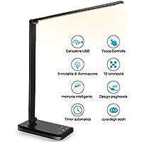 Lampada da Scrivania, lampada da tavolo con funzione di protezione degli occhi, lampada con 10 livelli di luminosità, 5 modalità di illuminazione, tocca controllo, porta di ricarica USB