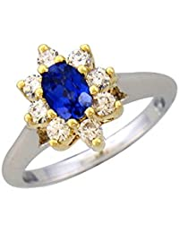 Silvernshine 0.42 Ct Round Cut Blue Sapphire & Sim Diamonds Wedding Ring In 14K White Gold PL