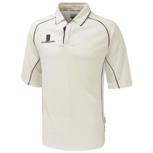 Surridge Herren Sport Polo-Shirt 3/4 Armlänge Weiß/Kastanie