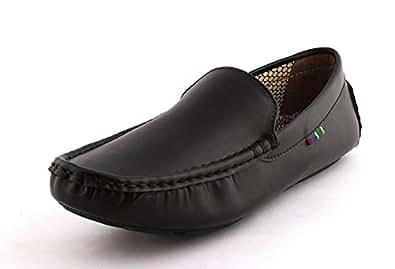 Alestino Men's Black Leather Loafers (8)