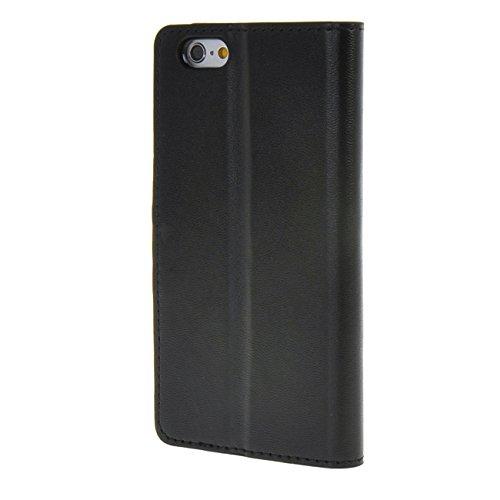 """MOONCASE Case pour iPhone 6 (4.7"""") PU Coque en Cuir Portefeuille Housse de Protection Étui à rabat Noir Noir"""