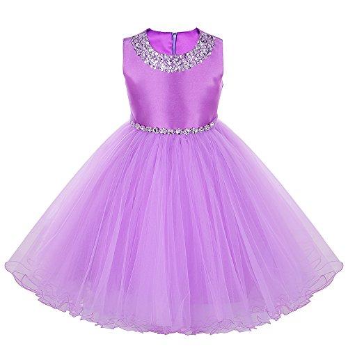 Paillette Strass Et Kostüm (HUANQIUE Mädchen Prinzessin Kleid Hochzeits Festzug Party Kostüm Tüll Rock Purple)