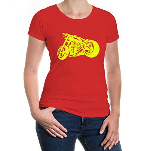 buXsbaum® Girlie T-Shirt Chopperbike V2 Red-Neonyellow