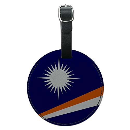 Land Marshall-inseln (Die Marshall Inseln National Land Flagge rund Leder Gepäck ID Tag Koffer)