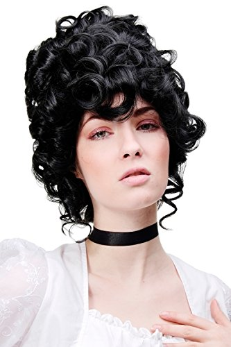tsperücke Perücke Rokoko Barock Adlige turmhoch schwarz GFW1675-1B Marie Antoinette ()